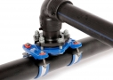 Electrowelded underpressure branch with size-on-size PE outlet saddle